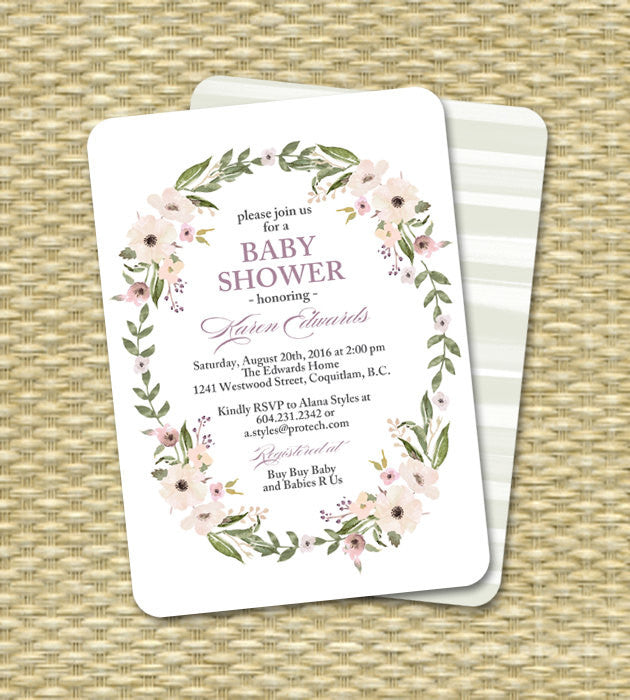 Gender Neutral Baby Shower Invitation Floral Wreath Baby Shower Invite Floral Shower Invitation Mint Cream Lavender Peach ANY EVENT