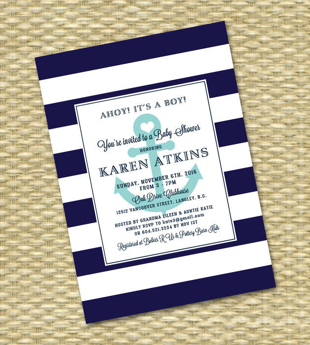 Nautical Baby Shower Invitation Anchor Stripes Ahoy It's a Boy! Navy White Aqua