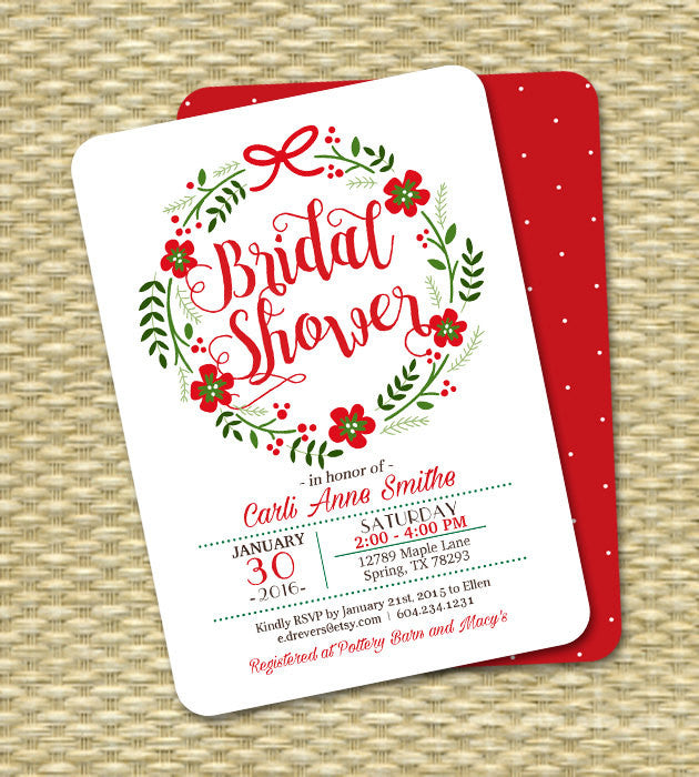 Christmas Bridal Shower Invitation Holiday Bridal Shower Red Green Floral Wreath Christmas ANY EVENT