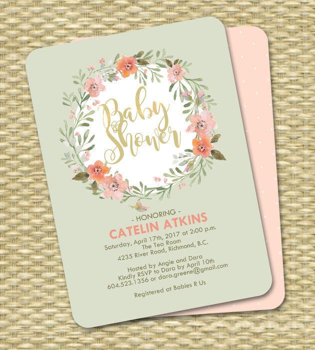 Gender Neutral Baby Shower Invitation Mint and Peach Watercolor Floral Wreath ANY EVENT