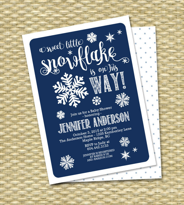 Winter Baby Shower Invitation Baby Boy Shower Navy Blue and Snowflake Sip and See Baby Sprinkle