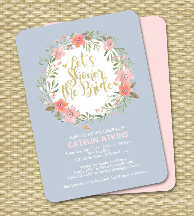 Slate Blue Floral Bridal Shower Invitation Pink Coral Peach Navy Blue Watercolor Floral Wreath ANY EVENT