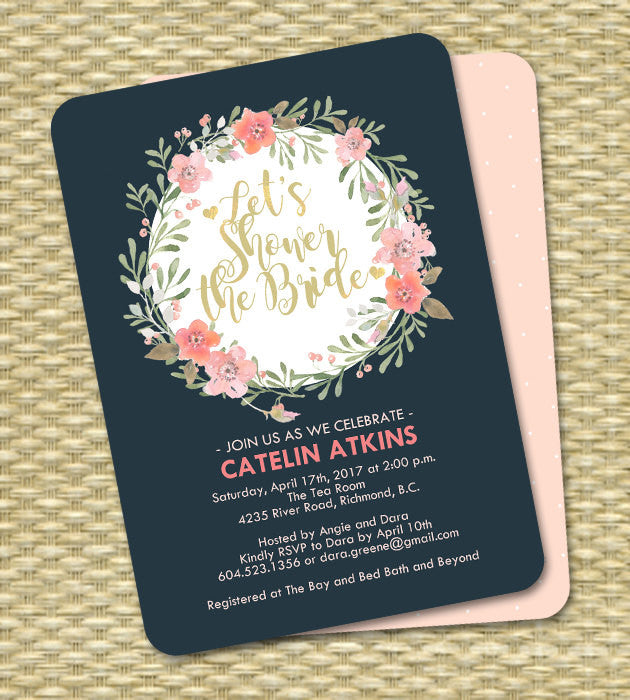 Navy Blue Blush Pink Peach Floral Bridal Shower Invitation Watercolor Floral Wreath ANY EVENT