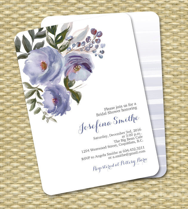 Bridal Shower Invitation Watercolor Floral Wedding Shower Couples Shower Plum Purple ANY EVENT