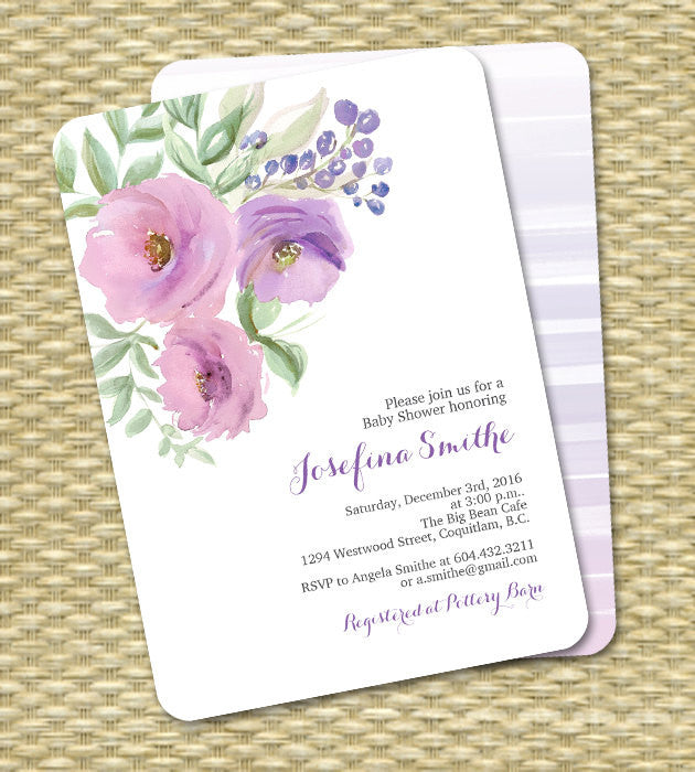 aeb55f952e9c Floral Bridal Shower Invitation Watercolor Flowers Pink and Lavender ANY  EVENT