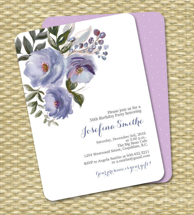 Adult Birthday Invitation Printable Invitation Watercolor Floral Birthday Invite Milestone Adult Birthday ANY EVENT