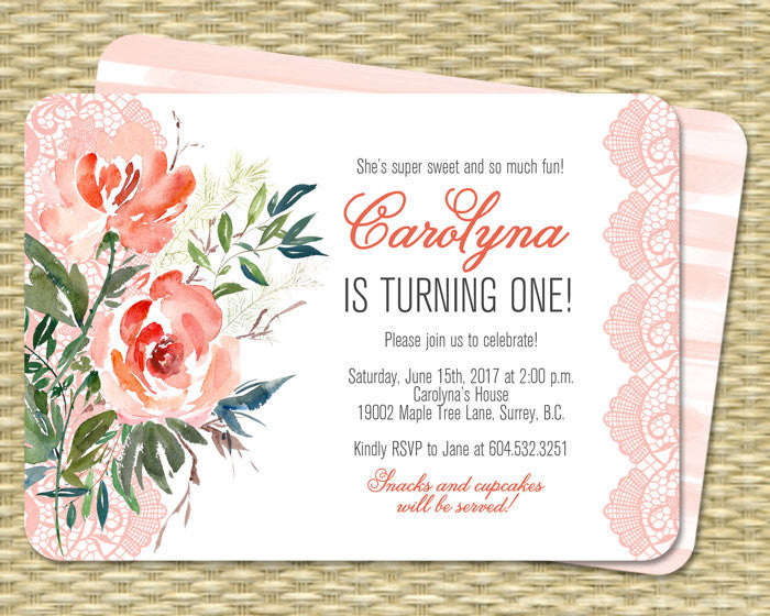 Bridal Shower Invitation Printable Peach Coral Mint Watercolor Floral Lace Bridal Brunch Country Style