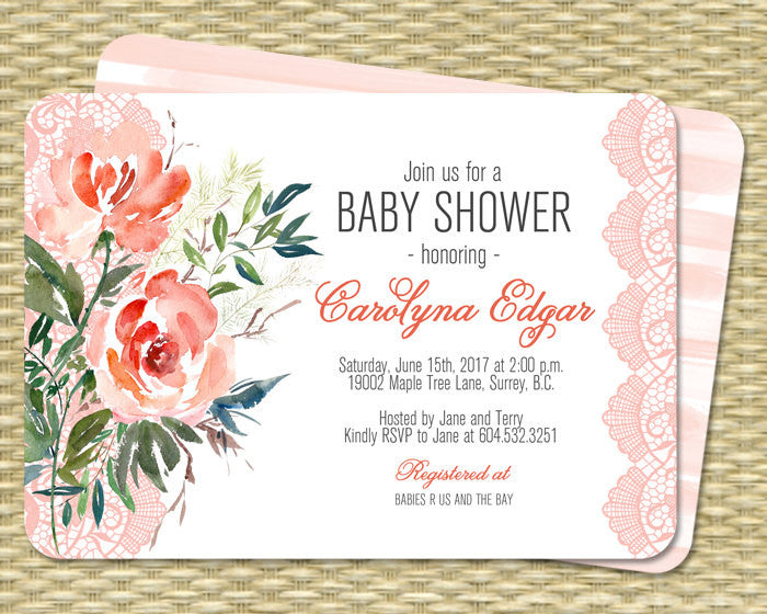 Baby Shower Invitation Printable Peach Coral Mint Watercolor Floral Lace Baby Sprinkle Baby Boy Baby Girl Gender Neutral