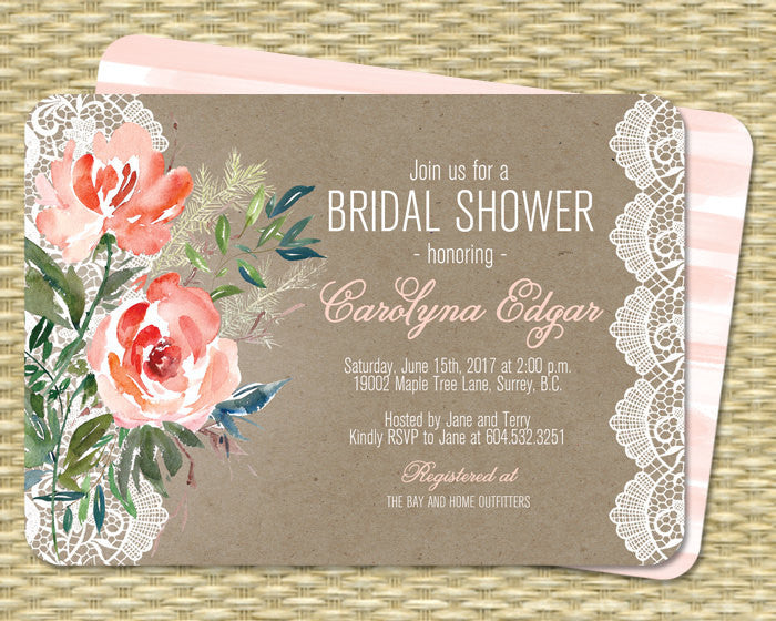 b2920e4b965f Rustic Bridal Shower Invitation Printable Kraft Peach Coral Mint Watercolor  Floral Lace Bridal Brunch Country Style