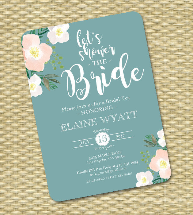 Mint and Peach Bridal Shower Invitation Bridal Tea Shower the Bride ANY EVENT