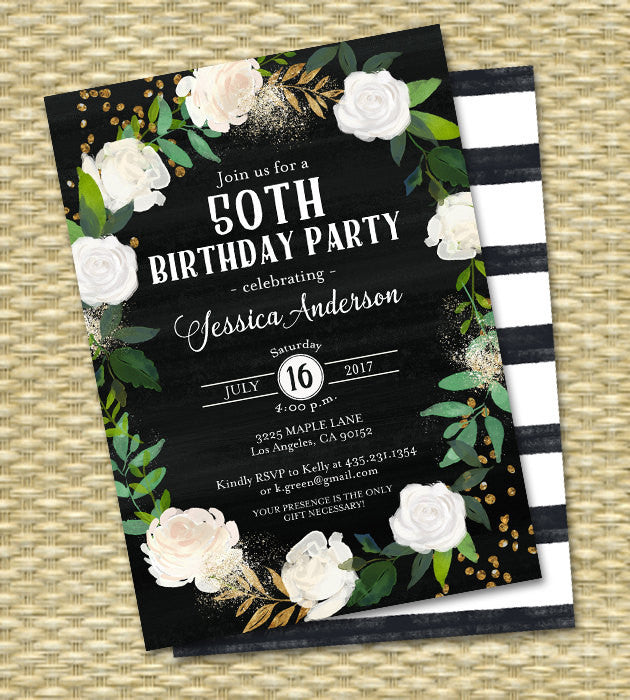50th Birthday Invitation Chalkboard White & Black Floral White Roses Gold Glitter ANY EVENT