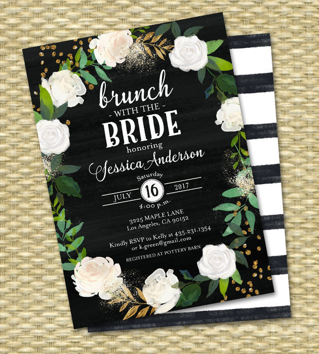 Brunch with the Bride Bridal Brunch Invitation Chalkboard Bridal Shower Invite Floral White Roses White & Black Gold Glitter ANY EVENT