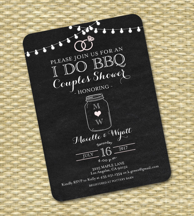 I Do BBQ Couples Shower Invitation Engagement Party Invite Rustic Chalkboard Mason Jar Lights - Printable or Printed