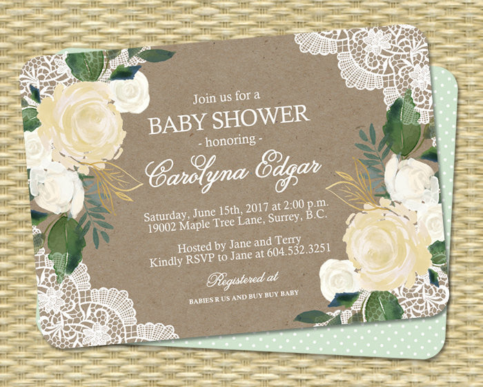 Printable Baby Shower Invitation Gender Neutral Rustic Kraft White Lace Cream Roses Yellow and Green Rustic ANY EVENT
