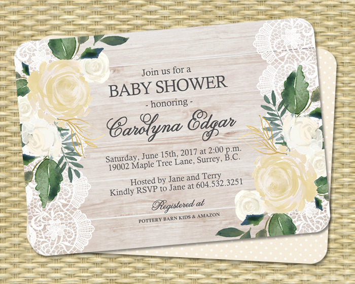 Printable Baby Shower Invite Gender Neutral Baby Shower Invitation Wood Lace White and Cream Roses Yellow and Green Country Style ANY EVENT