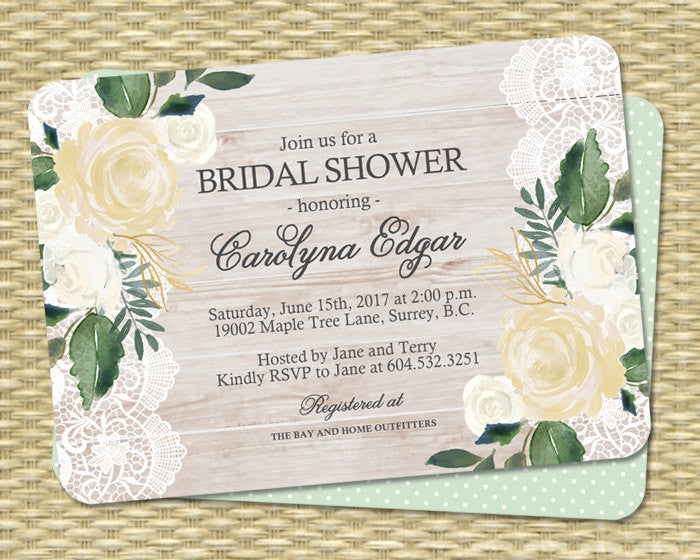 Printable Country Style Bridal Shower Invitation Wood Lace and White Roses Cream Roses Rustic Kraft Bridal Brunch ANY EVENT