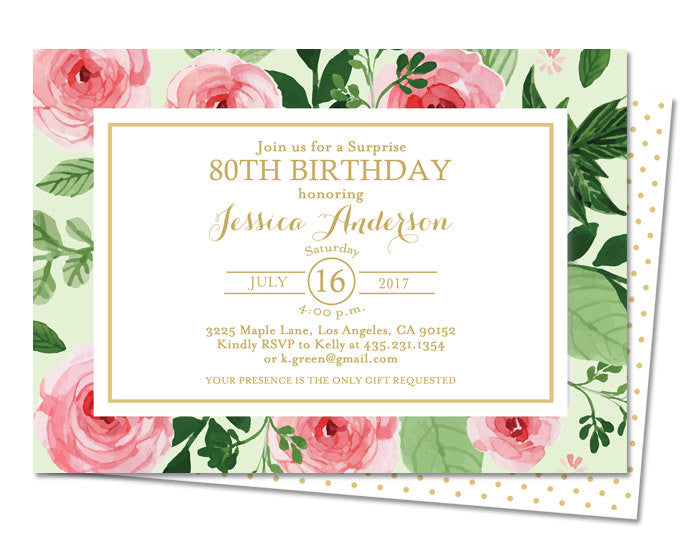 80th Birthday Invitation Watercolor Roses Peonies Floral Gold Garden Party Tea Adult ANY EVENT