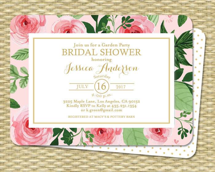 Bridal Shower Invitation Bridal Tea Watercolor Roses Peonies Floral Gold Garden Party ANY EVENT