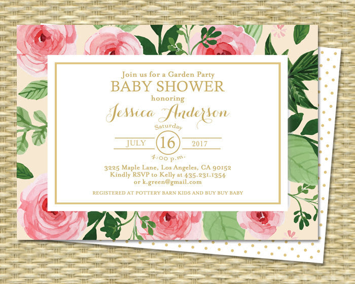 Baby Shower Invitation Gender Neutral Baby Shower Tea Watercolor Roses Cream Pink Peonies Floral Gold Baby Sprinkle ANY EVENT