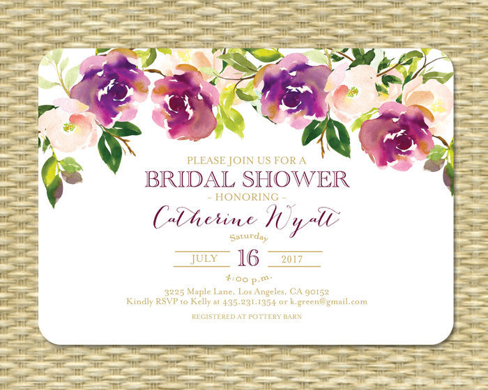 It's just a photo of Printable Bridal Shower Invitations in plum
