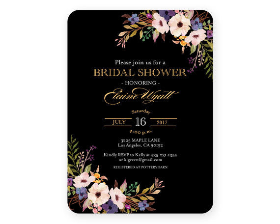 Printable Bridal Shower Invitation Black Gold Watercolor Flowers Navy Gold Bridal Brunch Wedding Shower ANY EVENT