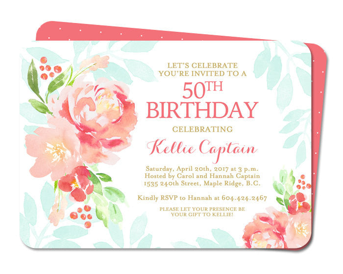 50th Birthday Invitation Adult Birthday Invite Watercolor Peonies Floral Coral Peach Blush Pink Aqua Mint Gold 60th 70th ANY EVENT
