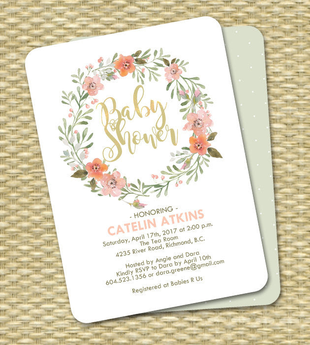 Baby Shower Invite Gender Neutral Peach and Mint Watercolor Floral Wreath ANY EVENT