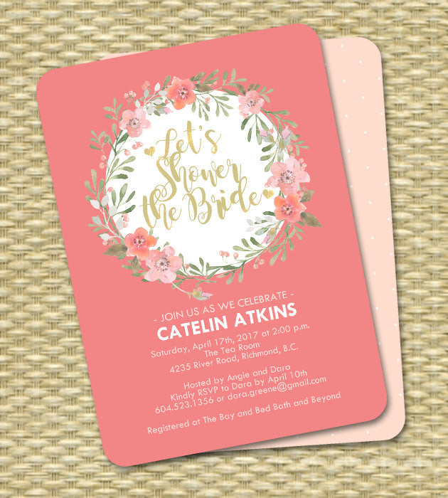 Floral Bridal Shower Invitation Pink Slate Blue Navy Blue Watercolor Floral Wreath ANY EVENT