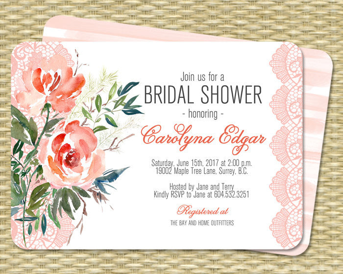 149e4875fefd Bridal Shower Invitation Printable Peach Coral Mint Watercolor Floral Lace  Bridal Brunch Country Style
