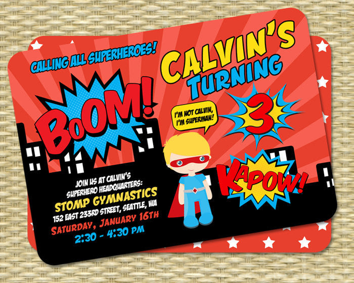 Superhero Birthday Invitation Kids Invite 1st 3rd Boys ANY EVENT