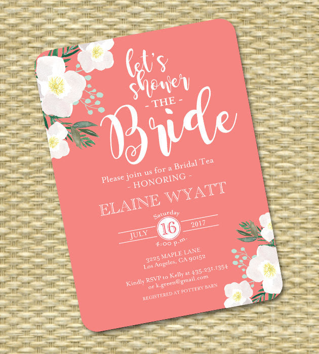 Coral and White Floral Bridal Shower Invitation Watercolor Floral Bridal Shower Invite Shower the Bride ANY EVENT
