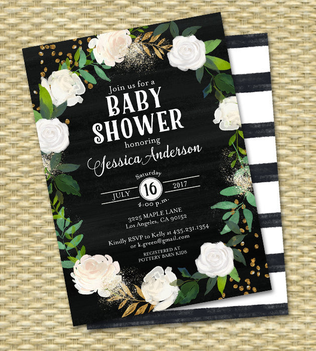 50th Birthday Invitation Chalkboard White Black Floral Roses Gold Glitter ANY EVENT