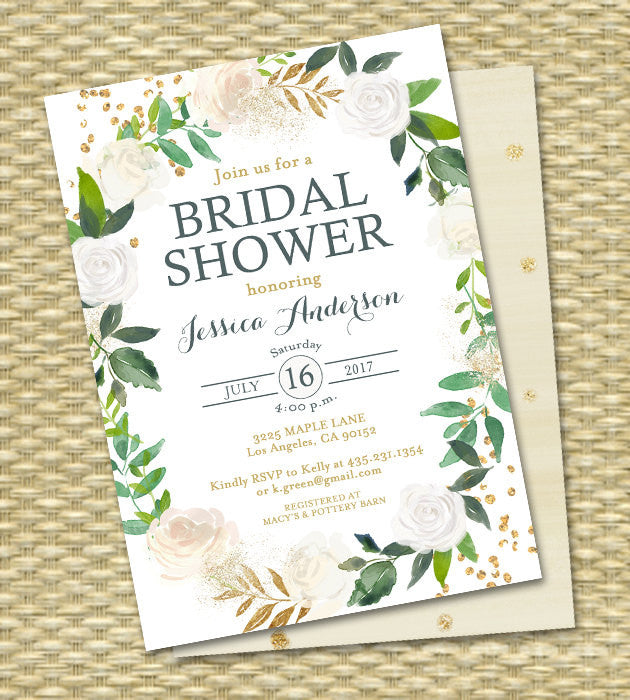 Bridal Shower Invitation Printable Bridal Shower Invite White Roses Gold Glitter Green Botanical Greenery ANY EVENT