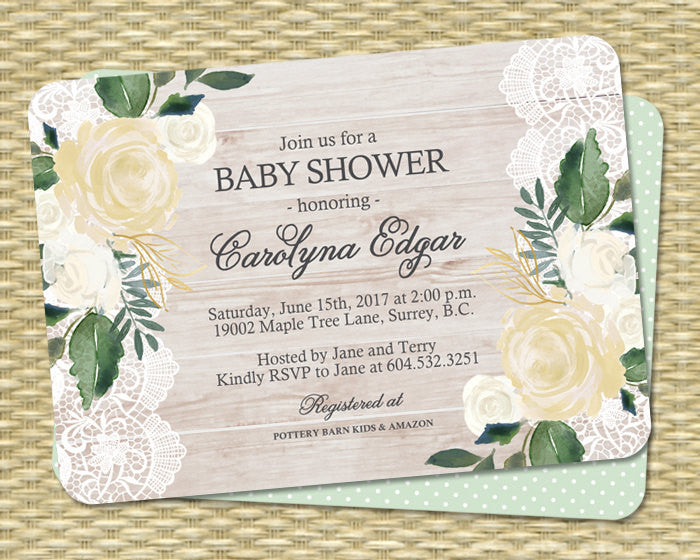 Rustic Baby Shower Invitation Barn Wood Lace White and Cream Roses Yellow and Green Country Style ANY EVENT