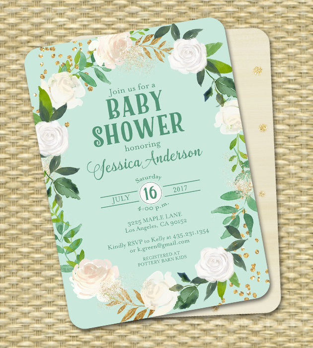 Gender Neutral Baby Shower Invitation Floral White Roses Mint Aqua Gold Glitter ANY EVENT