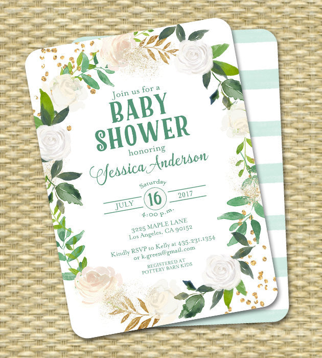 Neutral Baby Shower Invitation Gender Neutral Invite Green White Gold Cream Gold Glitter White Roses Floral Sip and See  ANY EVENT