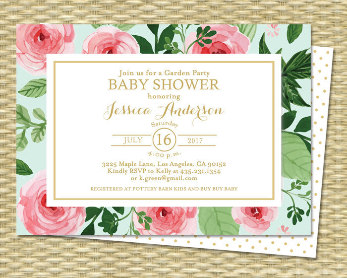 Baby Girl Shower Invitation Watercolor Roses Peonies Baby Shower Tea Floral Gold Baby Sprinkle ANY EVENT