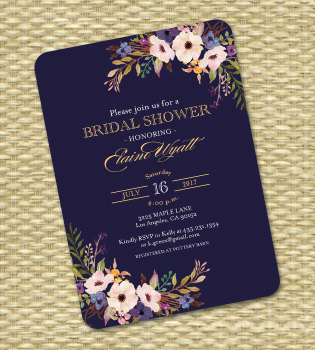 Bridal Shower Invitation Wedding Shower Invite Navy Blue Gold Black Gold Watercolor Floral