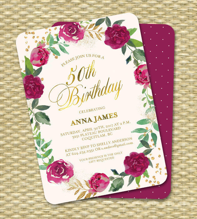 50th Birthday Invitation Burgundy Roses Floral Invitation Adult Birthday Invite Burgundy Blush and Gold ANY EVENT