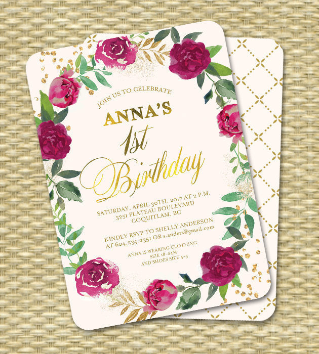 1st Birthday Invitation Girl Invite First Baby Floral Burgundy Gold Cream ANY EVENT