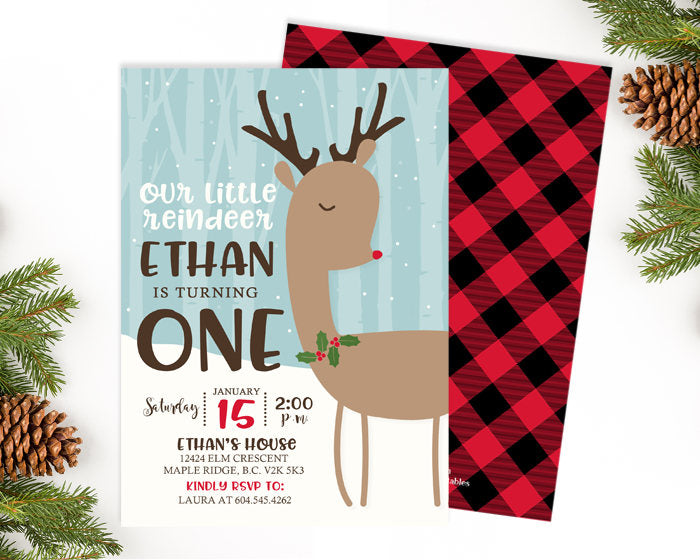 Reindeer Birthday Invitation Christmas Birthday Invitation Winter Birthday Invite Oh Deer First Birthday Invite Girl 1st Birthday Boy