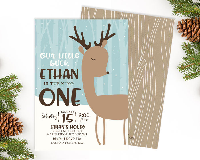 Deer Birthday Invitation Our Little Deer Birthday Invitation Woodland Girl First Birthday Deer Invitation Winter Deer Birthday Girl