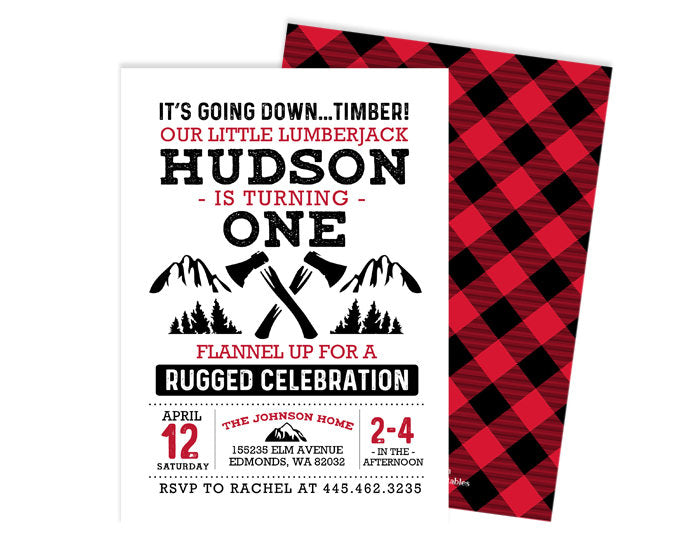 lumberjack birthday invitation lumberjack first birthday boy