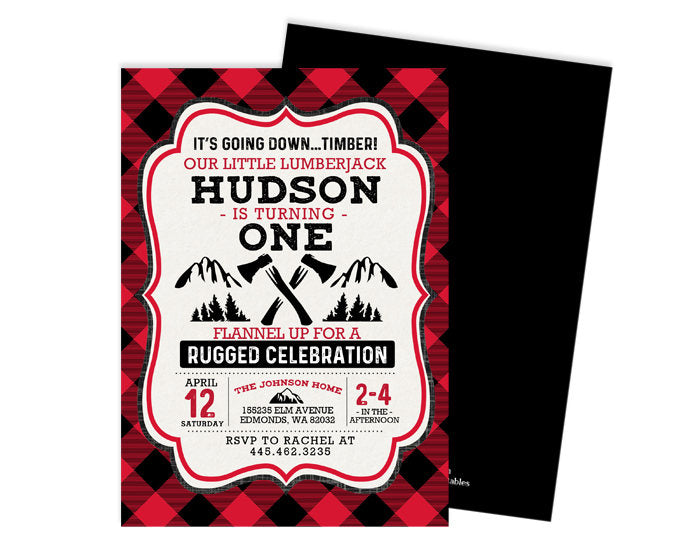 lumberjack birthday invitation boy first birthday invite red black