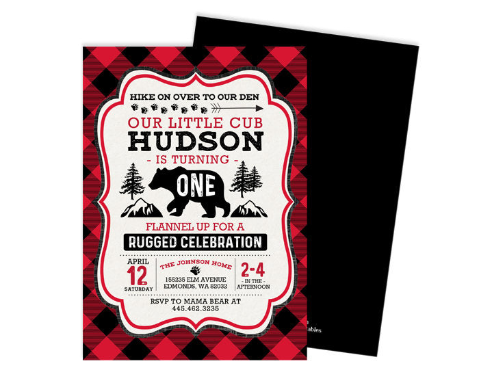 Bear Birthday Invitation Lumberjack Birthday Invitation  First 1st Birthday Boy Flannel Buffalo Plaid Invitation Printed or Printable Invite