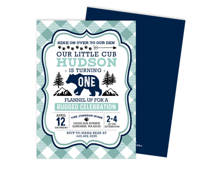 Woodland First Birthday Boy Bear Invitation Little 1st Invite Lumberjack Wild ONE