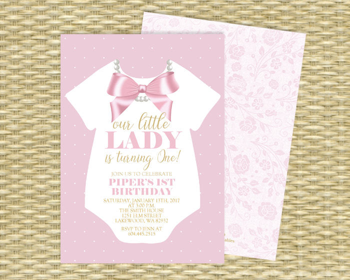 Pink and Gold Little Lady Birthday Invitation Our Little Lady First Birthday Invite Ribbon and Pearls Girls 1st Birthday Invite ANY EVENT