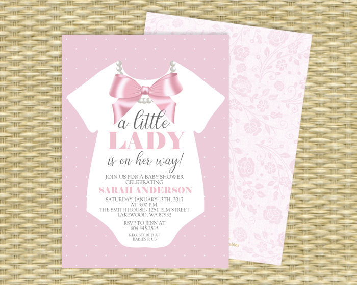 image about Printable Onesie Baby Shower Invitations named Minor Female Boy or girl Lady Shower Invitation Onesie Invitation Ribbon and Pearls Child Woman Crimson Gray Purple Gold Little one Sprinkle Female ANY Celebration