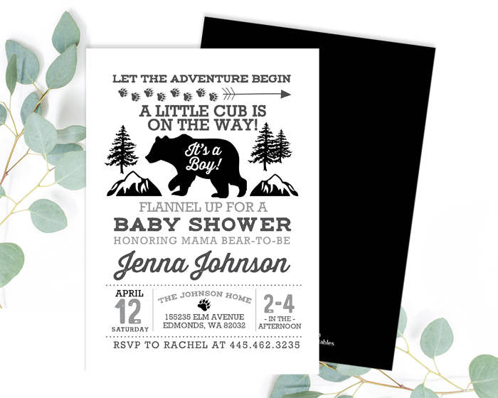 Adventure Black and White Baby Shower Invitation Baby Boy Gender Neutral Invite Baby Sprinkle Invitation Printable or Printed Invitation