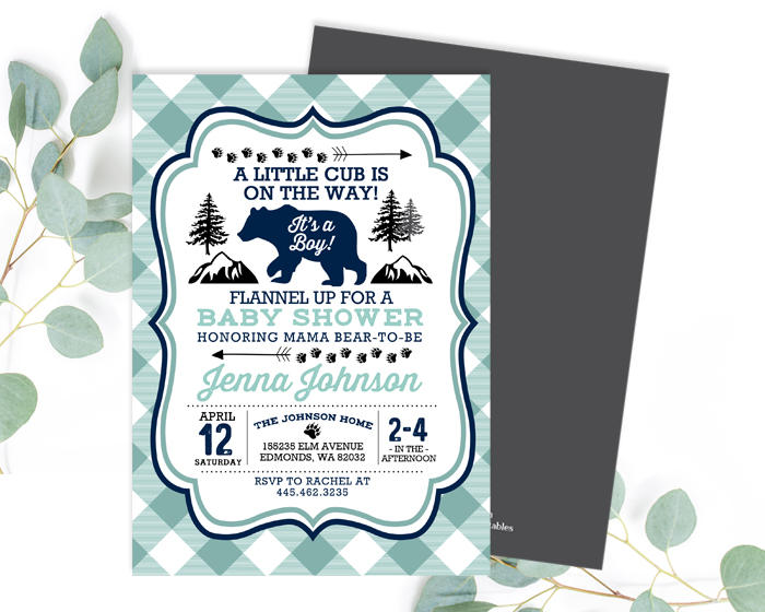 Bear baby shower invitation navy mint aqua lumberjack baby shower bear baby shower invitation navy mint aqua lumberjack baby shower invite buffalo plaid little cub baby boy shower invite any event filmwisefo Choice Image